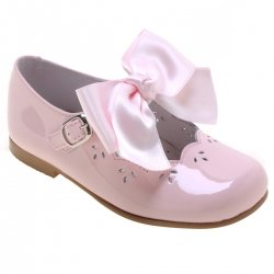 Girls Pink Patent Mary Jane Bow Shoes Removable Bow