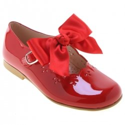 Girls Red Patent Mary Jane Shoes With Removable Bows