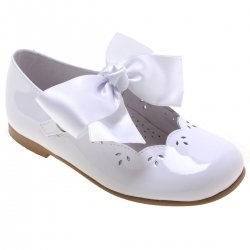 Girls White Patent Mary Jane Bow Shoes