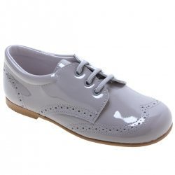Boys Ice Grey Patent Leather Shoes