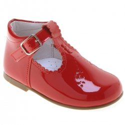 Girls Red T Bar Patent Boots Decorated By Scallop Edge