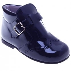 Boys Navy Patent Boots Leather Buckle Fastening Made In Spain