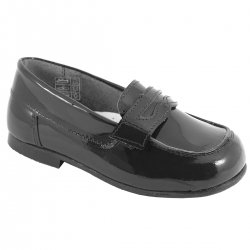 Boys Black Patent Loafer Shoes