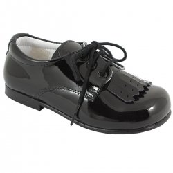 Boys Black Patent Shoes With Removable Fringe