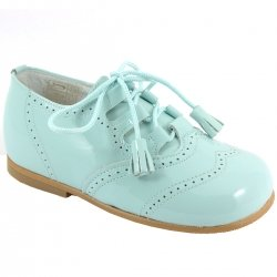 Boys Blue Patent Brogue Shoes With Tassels