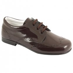 Boys Choco Brown Patent Shoes In Patent Leather