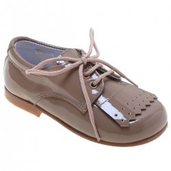 Boys Camel Brown Plain Patent Shoes With Removable Fringes