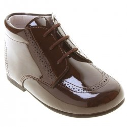 Boys Choco Brown Boots In Patent Leather