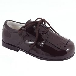 Boys Choco Brown Plain Patent Shoes With Removable Fringes