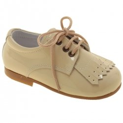 Boys Ivory Cream Patent Shoes With Removable Fringe