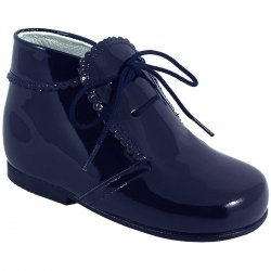 Boys Navy Patent Boots Scallop Edge