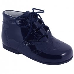 Boys Baby Navy Patent Brogue Boots