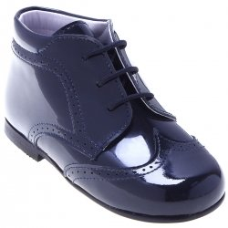 Boys Traditional Navy Patent Boots