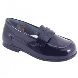 Boys Navy Patent Loafer Shoes