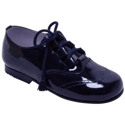Boys Navy Patent Brogue Leather Shoes With Tassels