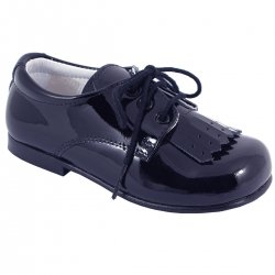 Boys Navy Patent Shoes With Removable Fringe
