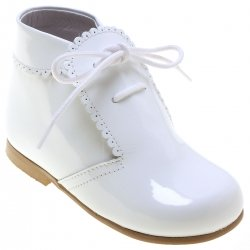 Boy White Patent Boots Scallop Edge