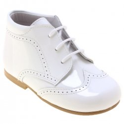 Boys White Boots in Patent Leather
