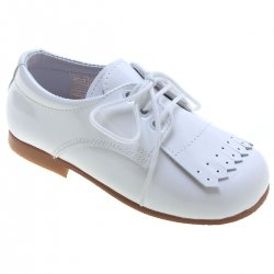 Boys White Patent Shoes With Removable Fringe