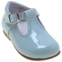 Toddlers Baby Blue Patent T Bar Shoes
