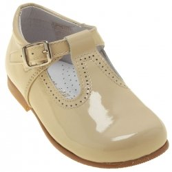 Babies And Toddlers Ivory Cream Patent T Bar Shoes