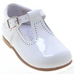 Toddlers Baby White Patent T Bar Shoes
