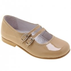Girls Caramel Brown Patent Shoes Double Straps