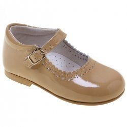 Toddler Girls Caramel Patent  Mary Jane Shoes Scallop Edge