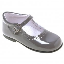 Toddler Girls Grey Patent  Mary Jane Shoes Scallop Edge
