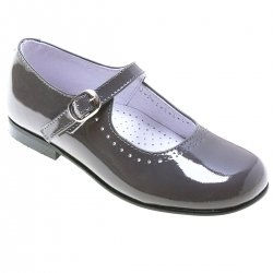 Girls Grey Patent Leather Mary Jane Shoes