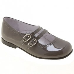 Girls Grey Patent Shoes Double Straps