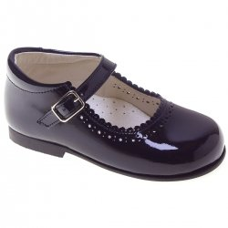 Toddler Girls Navy Patent Mary Jane Shoes Scallop Edge