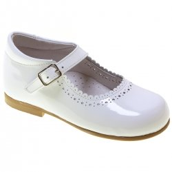 Toddler Girls White Patent  Mary Jane Shoes Scallop Edge