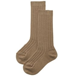 Caramel Brown Fine Rib Knee High Socks