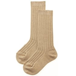 Fine Rib Knee High Socks in Tan Colour