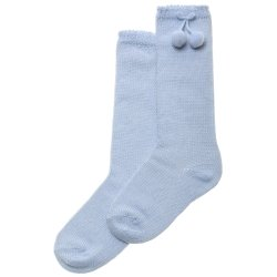 Pom Pom Baby Blue Knee High Socks