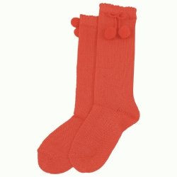 Babies And Toddlers Knee High Coral Pom Pom Socks