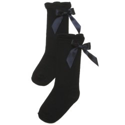 Girls Black Knee High Socks Black Satin Bows