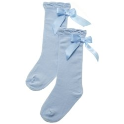 Satin Bow Baby Blue Knee High Socks