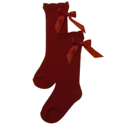 Girls Burgundy Knee High Socks Satin Bows
