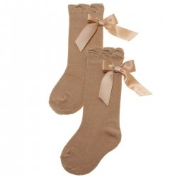 Knee High Caramel Socks With Satin Bows