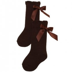 Knee High Dark Chocolate Brown Girls Socks With Satin Bows