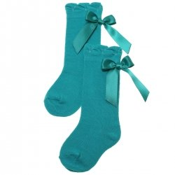 Knee High Emeral Green Socks With Satin Bows
