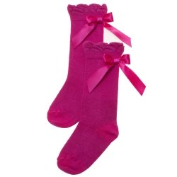 Girls Knee High Fuchsia Socks With Satin Bows