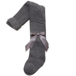 High Quality Girls Carlomagno Grey Tights With Satin Bows