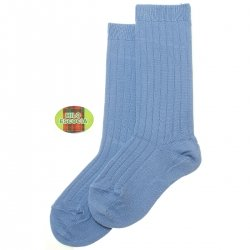 Fine Smooth Cotton Knee High French Blue Rib Socks