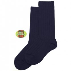Fine Rib Knee High Navy Socks Made in Spain