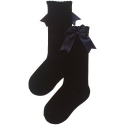 Girls Knee High Black Socks Double Satin Bow Decoration