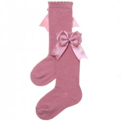 Girls Spanish Knee High Double Satin Bow Dusky Pink Socks