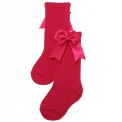 Fuchsia Colour Girls Knee High Double Bow Socks